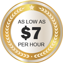 As low as $7 per hour